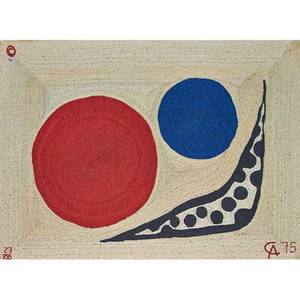 After alexander calder 1898  1976 bon art maguey fiber tapestry moon guatemala 1975 embroidered ca 75 copyright 27100 fabric label 72 x 98