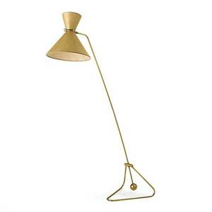 Pierre guariche 1926  1995 counterbalance floor lamp france 1950s brass vellum two sockets unmarked as shown 74 x 49 x 19