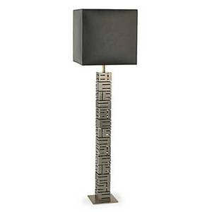 Max sauze b 1933 reticulated floor lamp france 1970s stainless steel vinyl single socket unmarked overall 59 12 x 16 sq