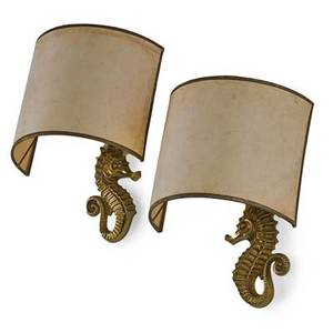 French pair of seahorse sconces france 1940s bronze paper shades single sockets illegible manufacturers stamp 12 x 8 x 7