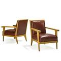Style of rene gabriel pair of armchairs france 1940s white oak leather unmarked 31 x 26 x 31
