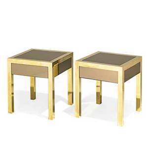 French pair of singledrawer nightstands france 1960s polished brass tinted mirrored glass unmarked 20 x 17 34 x 17 34