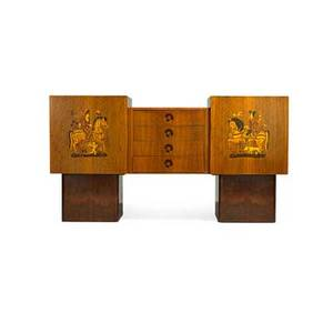 Andrew szoeke 1916  1999 cabinet usa 1930s walnut and mixed woods marquetry manufacturers metal label 40 x 76 20