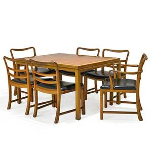 Edward wormley 1907  1995 dunbar dining table and six chairs four side two arm berne in 1940s bleached mahogany and walnut vinyl unmarked dining table 29 x 52 12 x 40 12 two lea