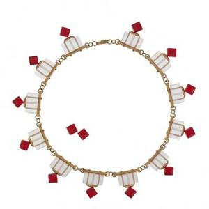 Linda macneil b 1954 lucent lines necklace and earrings suite 1999 polished clear optical glass polished red glass 14k yellow gold necklace and earrings signed marked 14k necklace 6 12