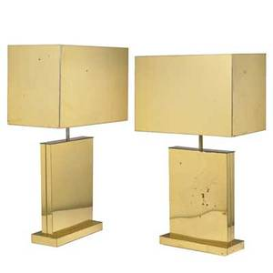 C jere artisan house pair of brass table lamps los angeles ca 1976 one signed and dated brass single sockets overall 35 12 x 21 x 12