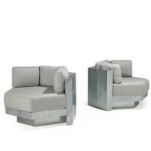 Paul evans 1931  1987 directional pair of illuminated modular lounge chairs usa 1970s mattechromed steel wool upholstery labels 24 x 38 x 39 34