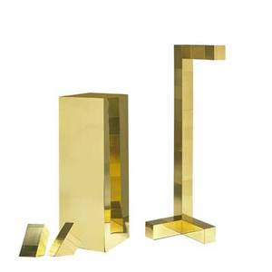 Paul evans 1931  1987 directional cityscape floor lamp two table lamps and one pedestal usa 1970s brass laminate unmarked floor lamp 54 x 18 x 14 pedestal 40 x 14 sq table lamp