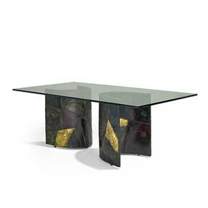 Paul evans 1931  1987 directional dining table pe24 usa 1968 welded and polychromed steel bronze glass signed and dated 29 12 x 82 12 x 43 12 provenance original owners winter