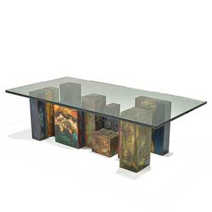 Paul evans 1931  1987 paul evans studio important custom coffee table new hope pa 1973 welded and polychromed steel glass signed and dated paul evans 73 17 x 60 x 29 12 provenance o
