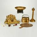 Decorative metal five objects most asian mirror lamp inkwell footed bowl etc 19th20th c lamp base marked tallest 11
