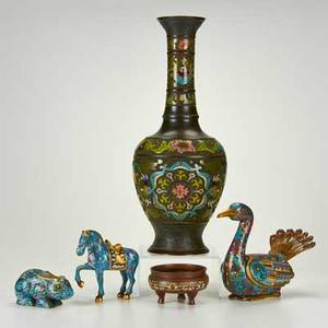 Asian three cloisonne animals champleve vase and footed bowl 19th20th c enameled metal turquoise coral all unmarked tallest 20 12