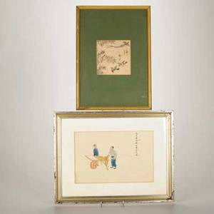Japanese block prints two 18th19th c after morikuni birds in flight and the other of a street vendor both signed and framed morikuni 5 x 5 sight