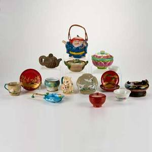Asian group lot of sixteen pieces mostly holloware 19th20th c glazed earthenware metal wood most unmarked tallest with handle 8 34