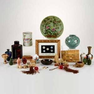 Asian group approximately thirty pieces 19th20th c includes hardstone snuff bottles porcelain vases and plates siamese gambling tokens cloisonne etc 19th20th c some marked tallest 6 1