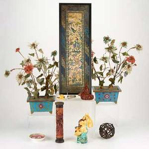 Asian decorative group ten pieces 19th20th c includes pair of cloisonn planters with flowers jade petals silver sewing kit carved amber buddha figurine porcelain salt cellar etc most unm