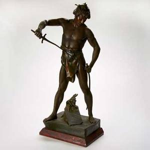mile louis picault french 18331915 bronze of warrior sheathing his sword post pugnam after the fight inscribed e picault 32 x 13 12 x 15