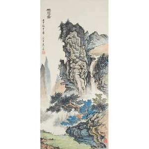 Asian ink drawing early 20th c ink and watercolor on paper framed 33 38 x 15 78 sheet