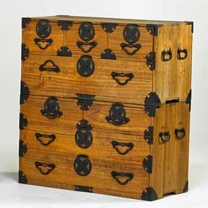 Tansu chest campaign style chest 19th c mixed woods 38 14 x 35 14 x 16 14