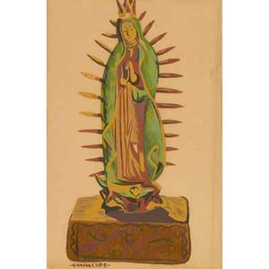 Louie ewing american 19081983 two gouache on paper of our lady of guadalupe and christ the crucifixion framed both signed and titled each 12 14 x 9 38 sheet
