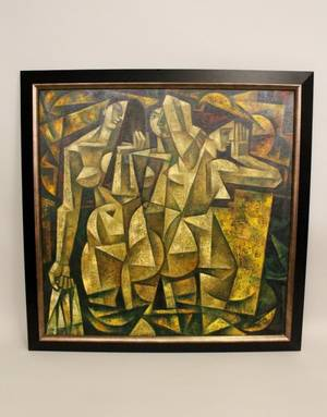 A Large Russian Cubist Style Oil of Three Nudes