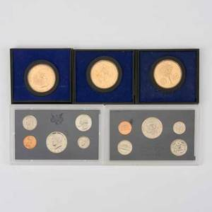 Us foriegn coins and currency twentyfive pcs including us 1964 proof set clipped coins etc