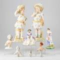 Royal doulton etc eight female porcelain figures including royal doulton spring and griselda etc 20th c most marked tallest 14 34