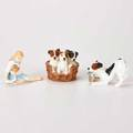 Royal doulton three figurines 20th c my pet puppies in basket dog playing with shoe all marked tallest 2 34
