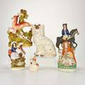 Staffordshire etc six pieces england 19th c including staffordshire dick turpin figurine and bud vase bisque little red riding hood figure etc unmarked tallest 11 12