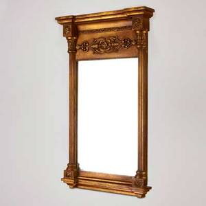 Neoclassical revival mirror rectangular mirror framed by corinthian columns and surmounted by a decorative frieze 20th c painted wood mirrored glass unmarked 27 14 x 15 14 x 3