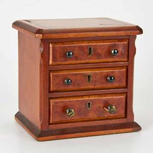Threedrawer jewelry chest europe 19th c walnut burl brass painted metal unmarked 8 x 8 x 6 12