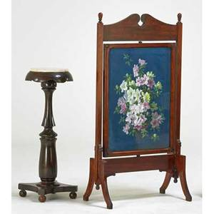 Decorative furniture group two pieces19th c firescreen and marbletop pedestal firescreen 51 x 26 x 15