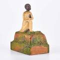 German wooden alms box with bobblehead african boy kneeling in prayer 19th20th c paper label ich war ein armer heidensohn nun kenn ich meinen heiland schon  und bitte darum jedermann  nehm