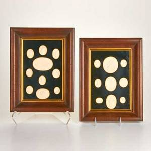 Italian intagios various oval intaglios framed in two matching shadow boxes 19th c unmarked 12 12 x 9 12 x 1 34