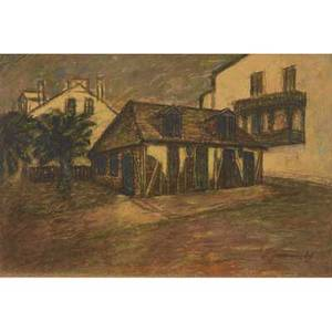 Five framed landscapes watercolor on painted paperboard lafittes blacksmith shop by ivan javornicky signed oil on canvas of venice signed deverde oil on canvas taped to board of a cottage by