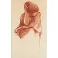 Richard segalman american b1934 conte crayon on paper woman fixing hair framed signed 25 x 17 34 sheet