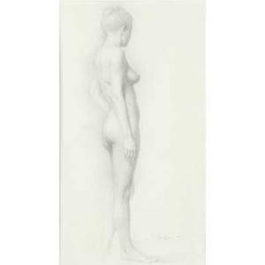 David shevlino etc american b 1962 standing nude drawing on paper 1981 signed and dated together with two watercolors on paper signed mccarthy 1972 all framed largest 17 x 10 sheet