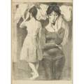 Raphael and moses soyer american 189919871974 two lithographs of women by raphael soyer one titled dressing room both framed both signed and numbered ap together with moses soyer charcoa