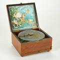 Polyphon music box with one disk germany early19th c walnut working condition opened 14 12 x 10 x 13 12