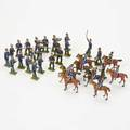 Heyde attr eightysix toy soldiers germany mid20th c painted lead includes 75 prussian riflemen 25 shooting 50 marching 8 mounted cavalrymen etc unmarked tallest 3
