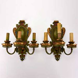 Traditional lighting pair of threelight wall sconces chandelier with flowers 20th c mixed metal porcelain crystal plastic all unmarked tallest 30