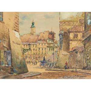 Two street scenes 20th c watercolor with ink and charcoal on paper of old warsaw market place 1961 signed j rajewski and dated oil on board of city sidewalk with pedestrians illegibly signed