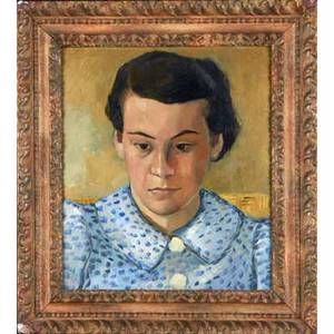 Portrait of a young woman oil on board by s brentano lucette framed 15 34 x 13 34