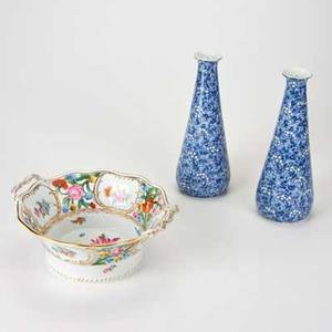 Continental porcelain three pieces pair of tapered bud vases by furnivals ltd and gilt twohandled bowl by dresden porcelain germany and england early20th c all marked vases 9 12 x 3 14 d
