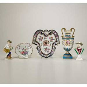 European asian porcelain five pieces 19th20th c including chinese export armorial shieldform tray samson shellform tray meissen bust etc most marked tallest 9