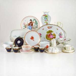 European porcelain group thirtythree pieces including two herend soup bowls and underplates four lomonosov cobalt cups six assorted pieces by hammersley for tiffany etc 20th c most marked t