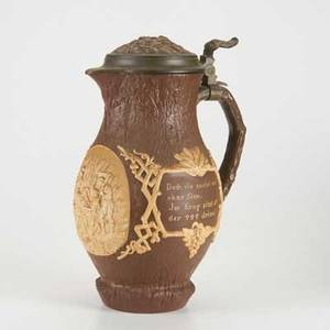 Mettlach serving stein 1028 decorated with a domestic scene early 20th c pewter mounted porcelain 13 x 6 12 x 9 12