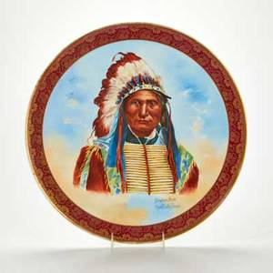 Limoges porcelain charger painted portrait of broken arm chief of the ogallala sioux tribe france early20th c marked j p  l france and j pouyat limoges 16 dia