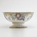 Porcelain punch bowl transfer decorated hand colored 19th20th c england unmarked 9 x 18 12