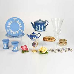 Wedgwood boehm etc sixteen pieces including six jasperware two boehm porcelain roses steuben vase assorted porcelain and glass 20th c some marked tallest 11 12
